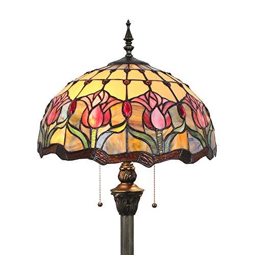 Tokira Tiffany Woonkamer Vloerlamp, Gebrandschilderd Glas Rode Tulp Bloem Art Deco Lampenkap, Pastorale Stijl 64-inch Hoge Leeslamp