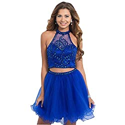 Blue Halter Short Dress In Satin Tulle with Rhinestone