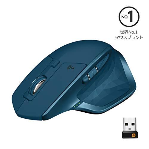 ロジクール ワイヤレスマウス 無線 マウス MX Master 2S MX2100sMT Unifying Bluetooth 高速充電式 FLOW対応 7ボタン windows mac iPad OS 対応 MX2100s ミッドナイトティール 国内正規品 2年間無償保証