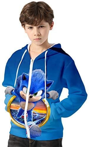 Silver Basic Sudadera con Capucha para Niños Chaqueta Impresa en 3D de Sonic The Hedgehog con Estampados Gráficos de Dibujos Animados Sudadera de Sonic Cosplay 130,755Círculo Sonic-3