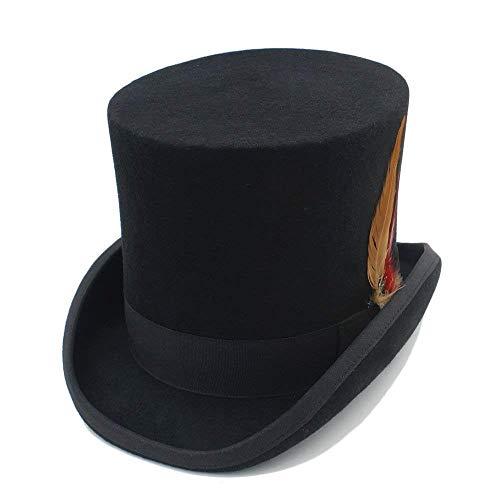 HaiDean Gorros Sombrero De Copa Hombres Mujeres Steampunk Hombres Sombrerero Modernas Casual Loco Vintage con Sombrero De Plumas Sombrero De Panamá Gorras (Color : 1, Size : 59cm)