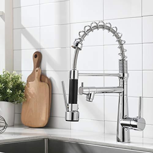 TIMACO Wasserhahn Küche Chrome Küchenarmatur mit Spiralfeder, 360°Schwenkbare Spültischarmaturen mit Zwei Auslauf,Wasserhahn Küchen & Brause ausziehbar- Hochdruck