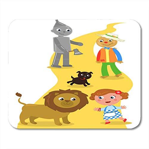 Mauspads zeichen gelber backstein der zauberer von oz dorothy mit ihrem hund vogelscheuche und blechmann trifft lion road child mauspad für notebooks, Desktop-computer büromaterial