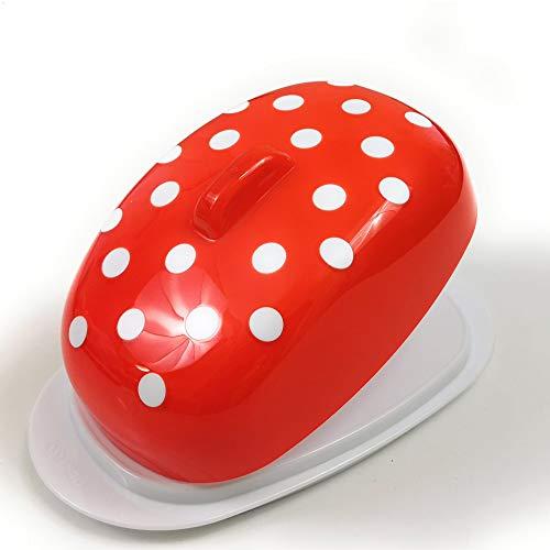 Berossi Butterdose Kunstoff rot Butter Dose Kunststoff mit Deckel BPA Free zur Aufbewahrung im Kühlschrank red Kunststoff Butter Box rote Butterdose Plastik drehbare Servierplatte Dose Retro Style