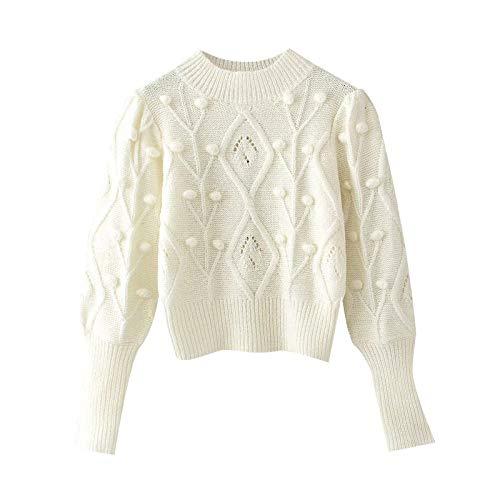 EIJFKNC Mujeres con suéter de Punto Recortado con Bola Vintage O Cuello Manga Larga Jerseys Femeninos Tops Elegantes, Blanco, M