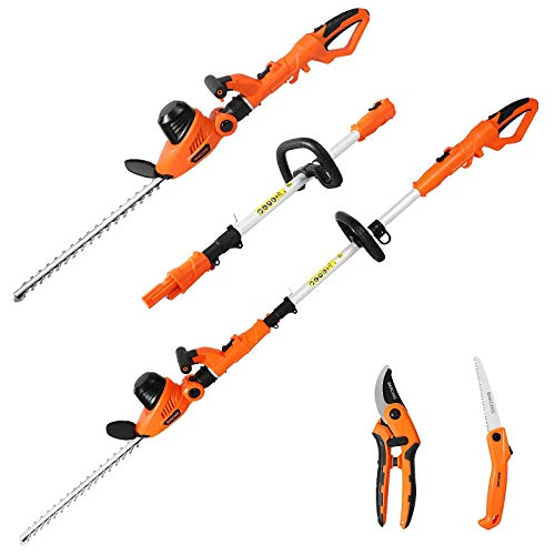 GARCARE Pole Hedge Trimmer Long Reach - 2 in 1 Corded Extendable 2.8 m Telescopic Hedge Trimmer (510 mm Cutting Blade, 20 mm Cutting Space, 600w) with Pruning Saw and Pruning Shear Set