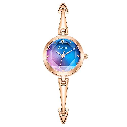 Kimio K6406 Damen Uhren Wasserdichtes Silm Minimalistisches Armband Modekleid Elegante Casual Quarzuhr für Damen (Blue)