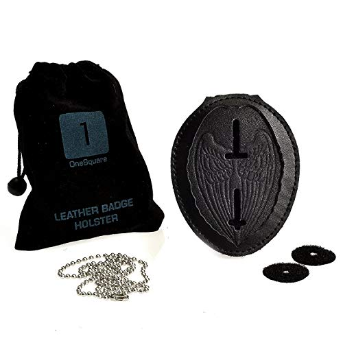 Badge Shield Holder with Leather Wrapped Heavy Duty Steel Belt Clip, Stainless Steel Necklace and Concealed Photo Pocket with Archangel Michael Wings in Thick Leather Cow Hide. Law Enforcement Gift
