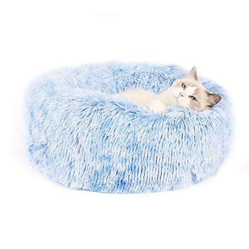 Cama para gatos y perros pequeños color gris para cachorros suave y suave para gatos gatos perros cama para dormir sofá cama acogedora con antideslizante para gatos y perros pequeños color azul