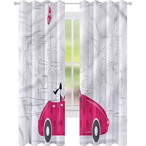 jinguizi Cortina opaca para ventana de coches mujer conducción vintage coche W52 x L72 para decoración de niños cortinas personalizadas