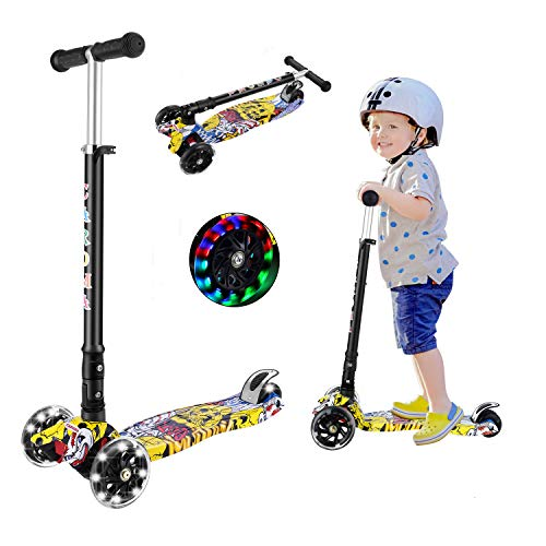 Caroma 3 Wheel Kick Scooter for Kids,3 Adjustable Height,3 Light Up Flashing Wheels Kid Scooter,Foldable Kick Scooter for Boys Girls Toddlers Ages 2-12 Years Old (Yellow)