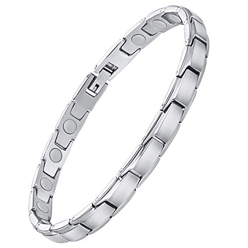 Jeracol Magnetic Bracelets for Women Titanium Steel Magnetic Bracelet for Arthritis Pain Relief Therapeutic Bracelets Adjustable Wristband Healthy Gift with Free Removal Tool & Gift Box