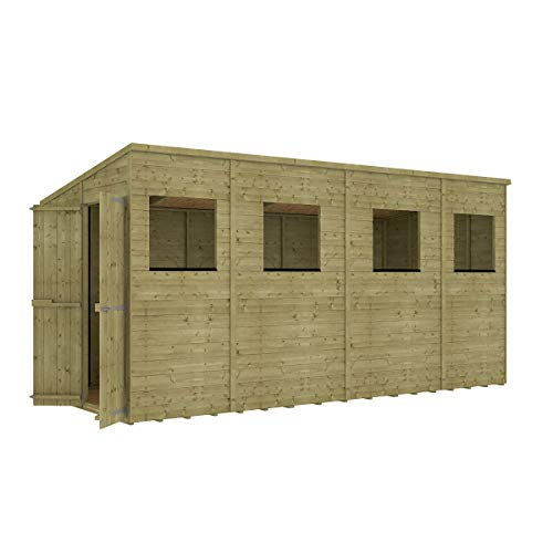 Project Timber 14 x 6 Pressure Treated Hobbyist Extra Tall Pent Windowed Garden Shed Doors in Gable with OSB Floor 4.26m x 1.82m