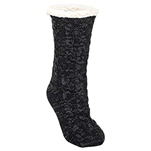 Simple Knit Womens One Size Plush Lined Non Skid Indoor Slipper Socks