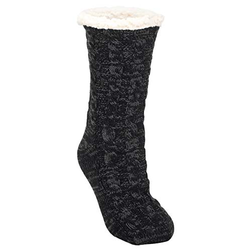 Black Simple Knit Womens One Size Plush Lined Non Skid Indoor Slipper Socks