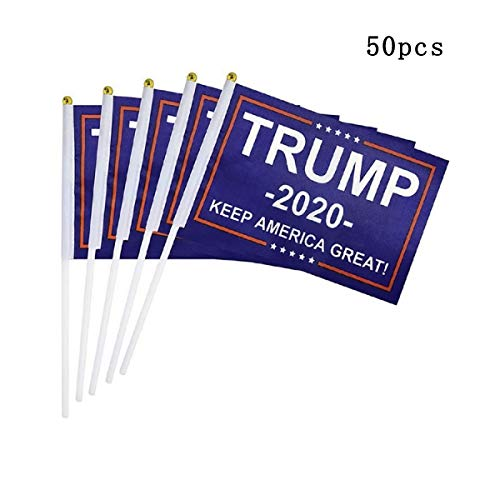 Nuxn 50pcs Hand Held Trump Small Mini Flag Donald Trump President Flag 2020 Flag 2020 Keep America Great Flag On Stick for Supporting Trump 2020 President Election -  18524002037