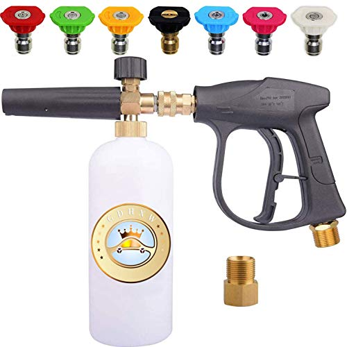 GDHXW X-887 High Pressure Washer Gun Snow Foam Lance Cannon Foam Blaster M22 Thread Conversion Adapter 7 Pressure Washer Nozzles, for car Washing