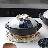 Lsqdwy Olla Caliente de cerámica Donabe de Colores japoneses, cazuela Resistente al Calor con Tapa, Olla de Barro Redonda pequeña, Olla arrocera para Fideos de Sopa de estofado A 1 l
