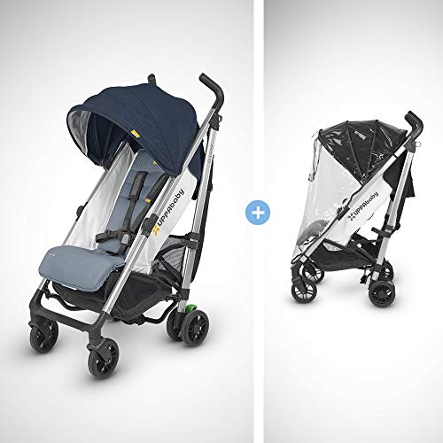 UPPAbaby G-Luxe Stroller - Aidan (Denim/Silver) + G-Luxe Rain Shield New Mexico