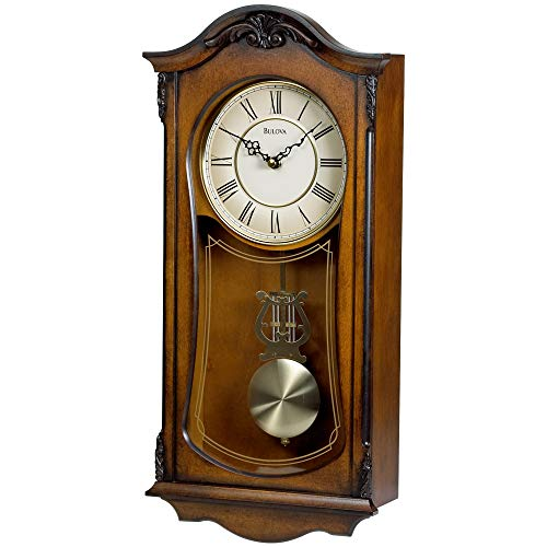 Bulova Clocks C3542 Cranbrook Wall Mount Analog Wooden Chiming Clock,...