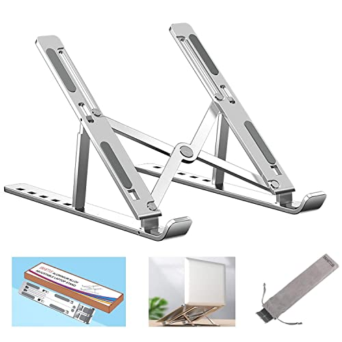ERHETUS Ergonomically Aluminium Laptop Stand for Table | Lightweight Desktop Holder | Universal & Height Adjustable Lapdesks Compatible with All Laptops & Tablets up to 16 inch