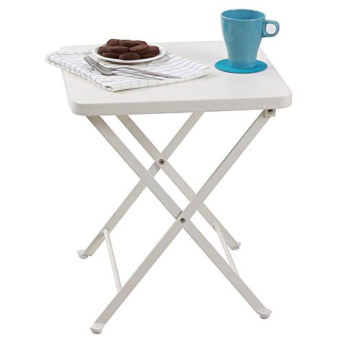 PHI VILLA Folding Metal Square Small Side End Table, Snack Table for Outdoor Patio, Sofa, Living Room, Office - White