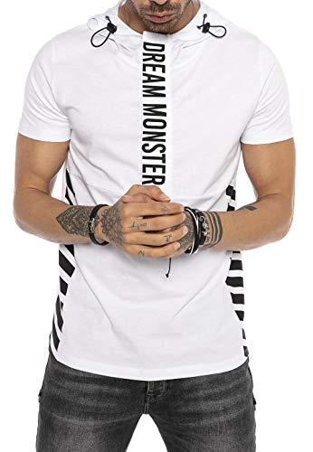 Camiseta Manga Corta con Capucha y Cierre Frontal de Hombre Blanco XXL