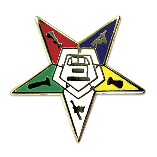Order of The Eastern Star Masonic Lapel Pin - [Gold & White][3/4'' Tall]