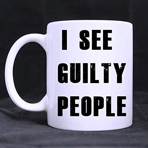 11 Unzen lustig sehe ich schuldige Leute-Kaffee-Tee-Weiß-Becher-Schale