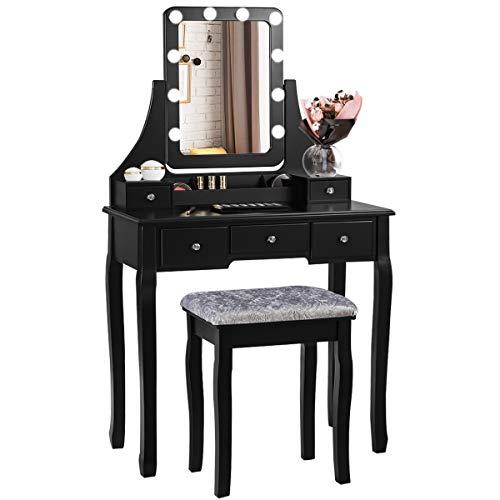 COSTWAY Tocador con Taburete y 5 Cajones Mesa de Maquillaje con Espejo Giratorio de 360 ° y 10 LED Bombillas Mesa de Cosméticos para Dormitorio (Negro)
