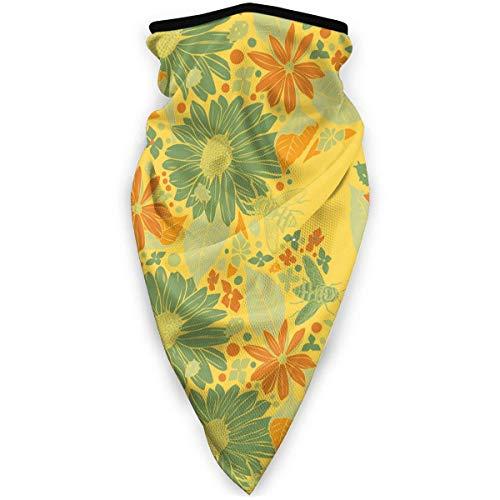 July bivakmuts, bloemen, geel, groen, zonnebloem, sjaal, stofbescherming, wasbaar, bivakmuts