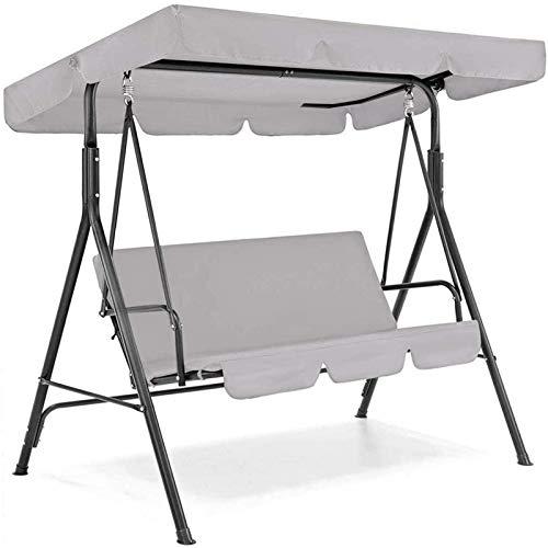 BEDSETS Toldo de repuesto para asiento de columpio, cubierta superior impermeable y cubierta de asiento, protector contra el polvo, jardín, patio, exterior, 2 y 3 plazas (gris, 195 x 125 x 15 cm)