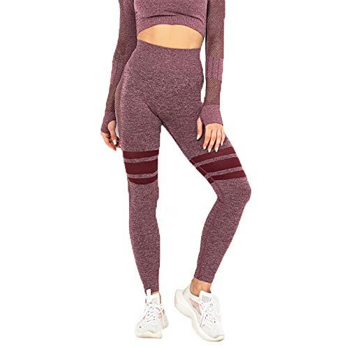WULAU Fitness Leggings Pantalones de Yoga para Mujeres, Pantalones de Estiramiento Suaves para Mujeres, Pantalones de Yoga con Bolsillos, Ejercicios de Control de Abdomen de Cintura Alta