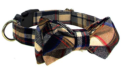Kebs Kebocis Dog Bow Tie Collar with Detachable Bowtie Adjustable Plaid Neck Tie for Large Dogs, Khaki