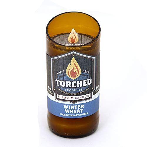 Torched Beer Scented Candles | Natural Soy Wax Candle | Winter Wheat Scent 8 oz | Makes a Great Gift for Men, Beer Lovers, and Collectors | Bar Man-Cave Decor and Accessories