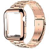 Pour Apple Watch 6 bandes 44mm 40mm 42mm 38mm avec boîtier de protection d'écran Bracelet en acier...