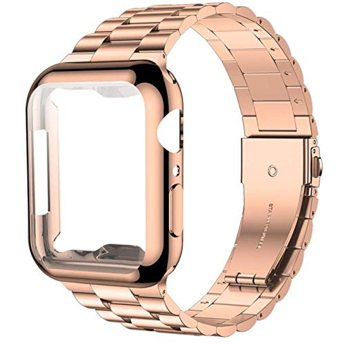 For Apple Watch 6 Band 44mm 40mm 42mm 38mm with Screen Protector Case Stainless Steel Bracelet for iWatch Series 5 4 3 2 1 Strap