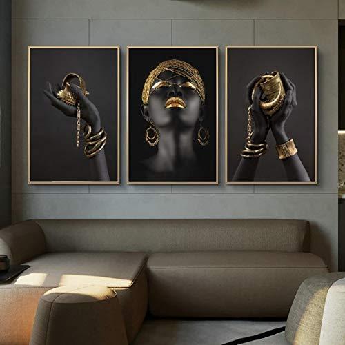 HSFFBHFBH Schwarze Hände mit goldenem Schmuck Wandkunst Poster und Drucke Moderne afrikanische Wandkunst Leinwandbilder für Wohnzimmer 40x50cmx3pcs Ungerahmt