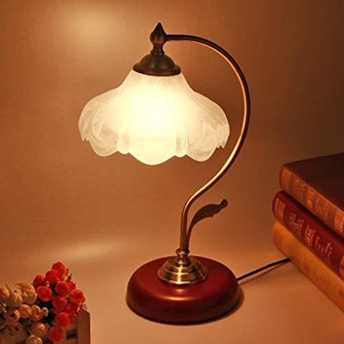 XQDSP Led-tafellamp, lotus, mahonie, dimmens, nachtlampje voor slaapkamer, studeerkamer, woonkamer, nachtkastje