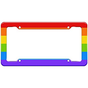 Graphics and More Blank Rainbow LGBTQ Gay Pride Pattern License Plate Frame