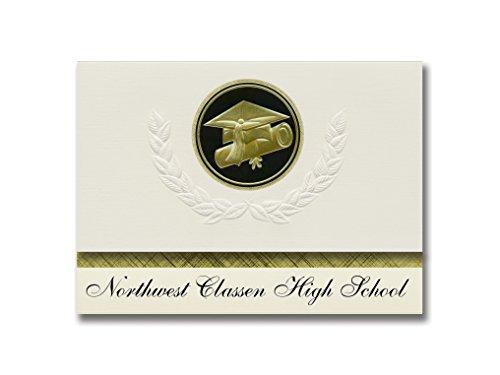Signature Announcements Northwest Classen High School (Oklahoma City, OK) Graduierung Ankündigung, Presidential Elite Pack 25 Cap & Diplom-Siegel, Schwarz & Gold