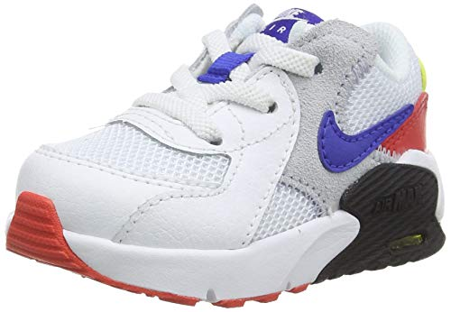 Nike Unisex Kinder Air Max Excee (TD) Sneaker, White/Hyper Blue-Bright Cactus-Track Red, 32 EU
