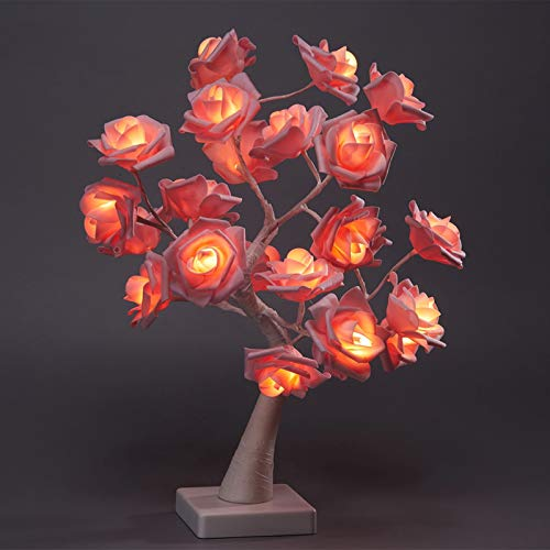 Gxklmg Romantic Rose Flower Tree Light, 24LED Table Lamp USB or Battery Powered for Party Home Christmas Wedding Holiday Decoration,Pink