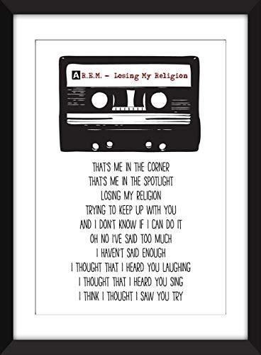 R.E.M. Losing My Religion Lyrics Unframed Print/Ungerahmter Druck