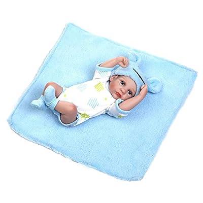 "Terabithia Miniature 10"" Realistic Adorable Newborn Baby Doll Kits Silicone Full Body Washable for Boy"