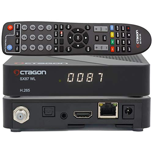 OCTAGON SX87 HD WL H.265 S2 + IP HEVC - Lettore di schede multimediali, DLNA, YouTube, radio web, USB PVR, 150 Mbits WiFi + cavo HDMI