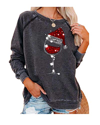 Women Red Wine Glass Christmas Sweatshirt Sequined Sparkly Glittery Santa Hat Graphic Long Sleeve Shirt Pullover (XL, Gray)
