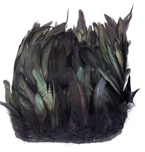 PANAX Echte Hahnenfedern auf 500cm Stoffstreifen - 15 Farbvarianten - Ideal für Fasching, Karneval, Halloween, Basteln, Bekleidung, Kostüme in Schwarz