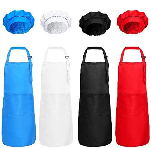 DUO-H Delantal para niños de 8 Piezas y Conjunto de Gorros de Chef Sombrero de Chef de Cocina de algodón Ajustable para niños con Delantal para cocinar y Pintar (Negro, Blanco, Rojo, Azul)