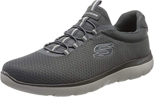 Skechers Herren Summits Slip On Sneaker, Grau (Charcoal Mesh/Trim Charcoal), 45 EU
